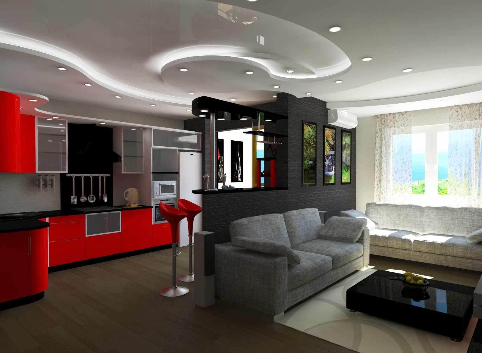 вариант необычного декора гостиной комнаты 19-20 кв.м
