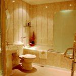 идея красивого стиля ванной комнаты с облицовкой плиткой картинка