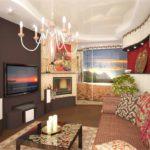 идея красивого декора гостиной комнаты 16 кв.м картинка