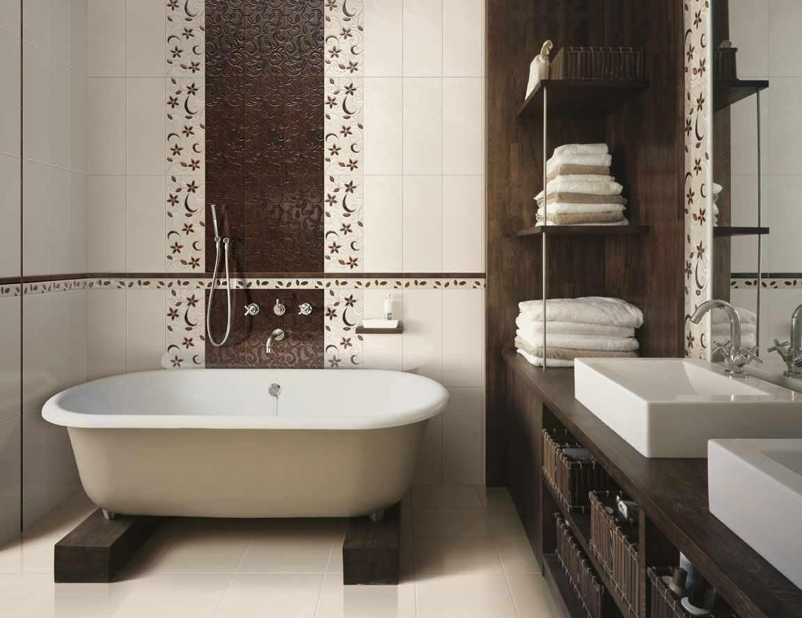 пример необычного интерьера ванной комнаты с облицовкой плиткой