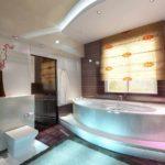 вариант необычного декора ванной комнаты с угловой ванной фото