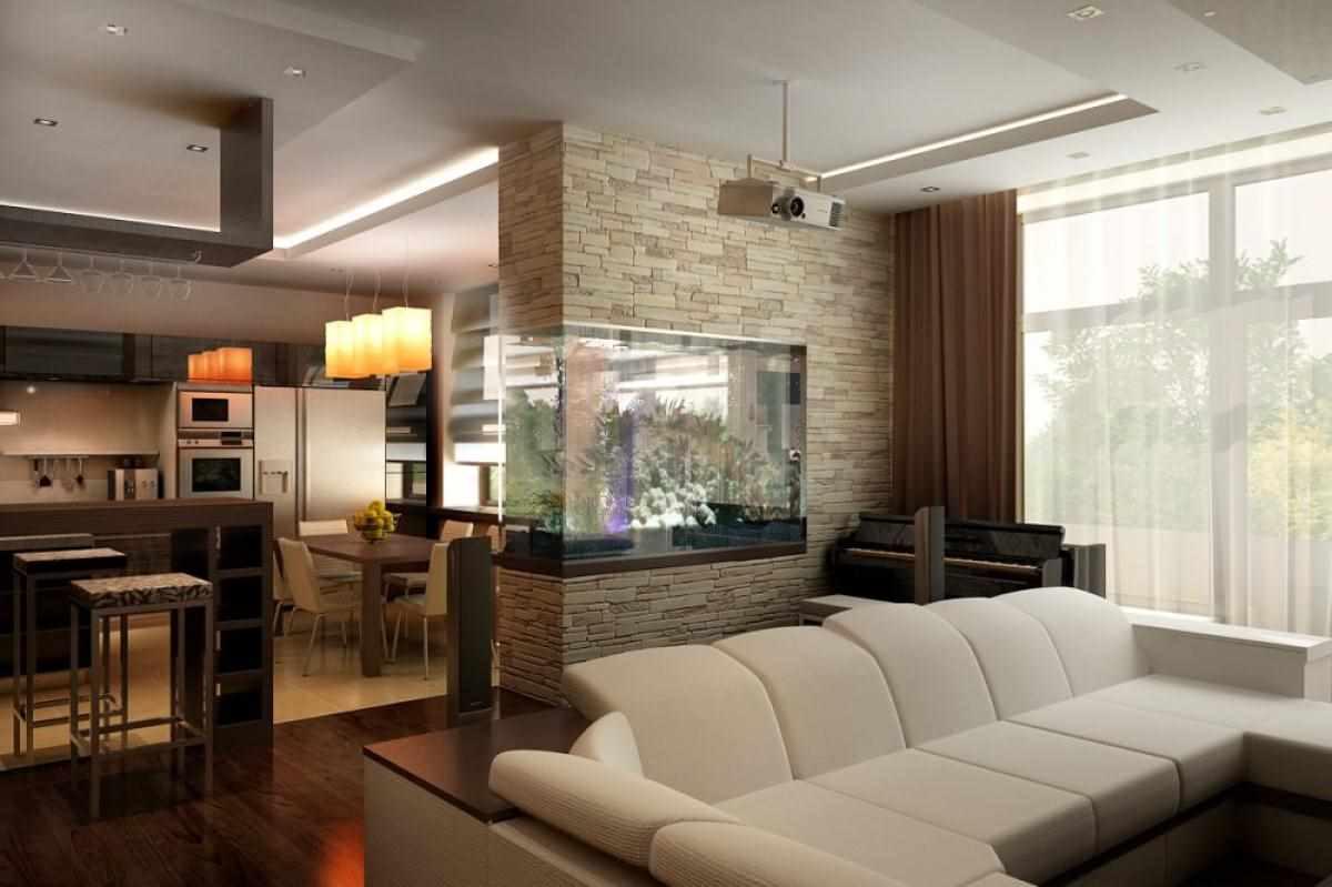 пример красивого декора гостиной комнаты 17 кв.м