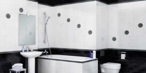 пример красивого дизайна ванной комнаты с облицовкой плиткой фото