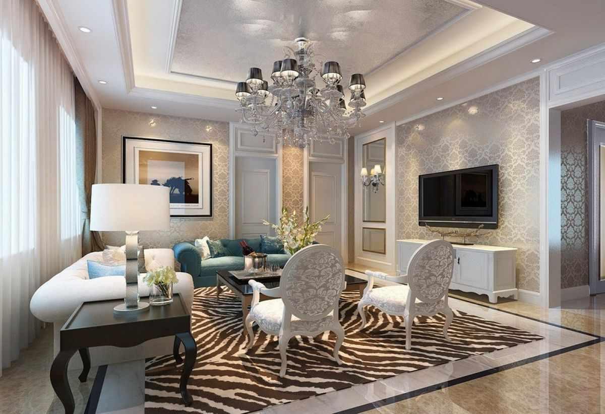 пример светлого декора гостиной комнаты 2018