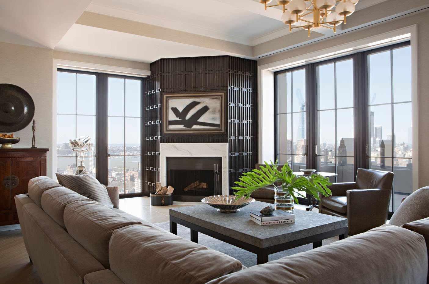 пример применения красивого дизайна гостиной комнаты с камином