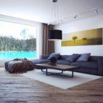 идея применения красивого интерьера гостиной комнаты в стиле минимализм фото