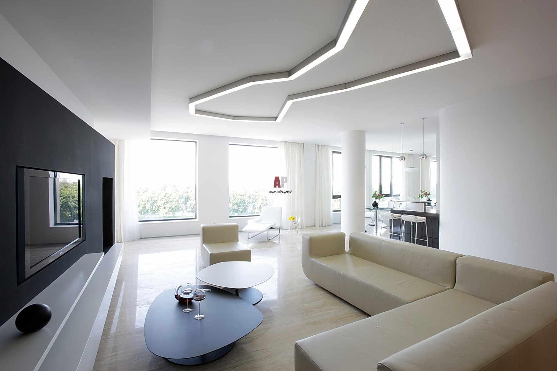 пример использования необычного дизайна гостиной комнаты в стиле минимализм