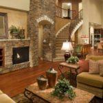 идея применения красивого стиля гостиной комнаты с камином картинка