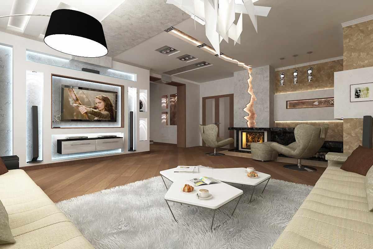 пример применения необычного стиля гостиной комнаты с камином