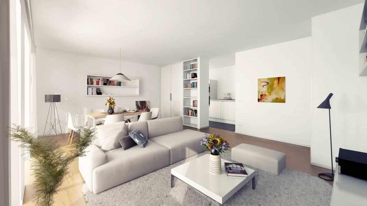 идея применения красивого интерьера гостиной комнаты в стиле минимализм