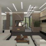 вариант использования яркого дизайна гостиной комнаты с камином фото
