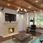 вариант использования необычного интерьера гостиной комнаты с камином фото