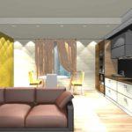 пример использования яркого интерьера гостиной комнаты в стиле минимализм фото