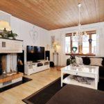 вариант применения яркого стиля гостиной комнаты с камином картинка