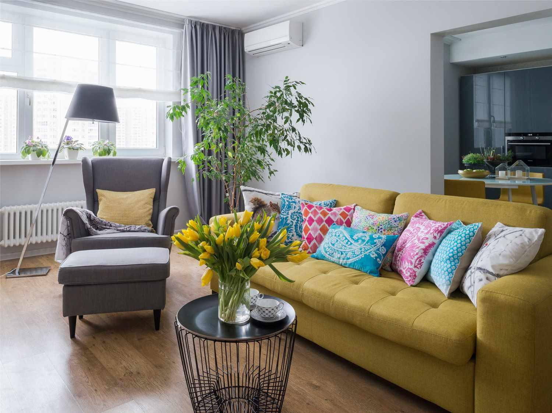 идея необычного интерьера гостиной комнаты 2018