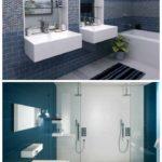 пример необычного дизайна ванной комнаты с облицовкой плиткой картинка