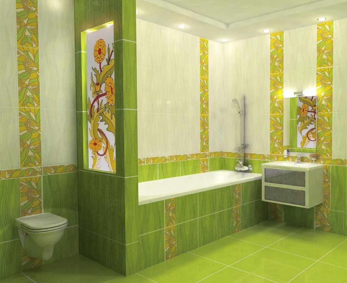 вариант красивого дизайна ванной комнаты с облицовкой плиткой