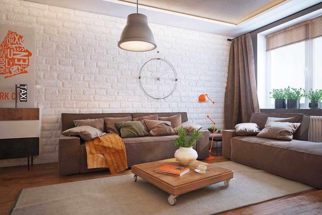 вариант необычного интерьера гостиной комнаты 16 кв.м