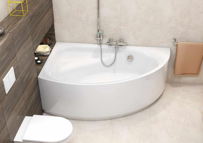 пример яркого стиля ванной комнаты с угловой ванной