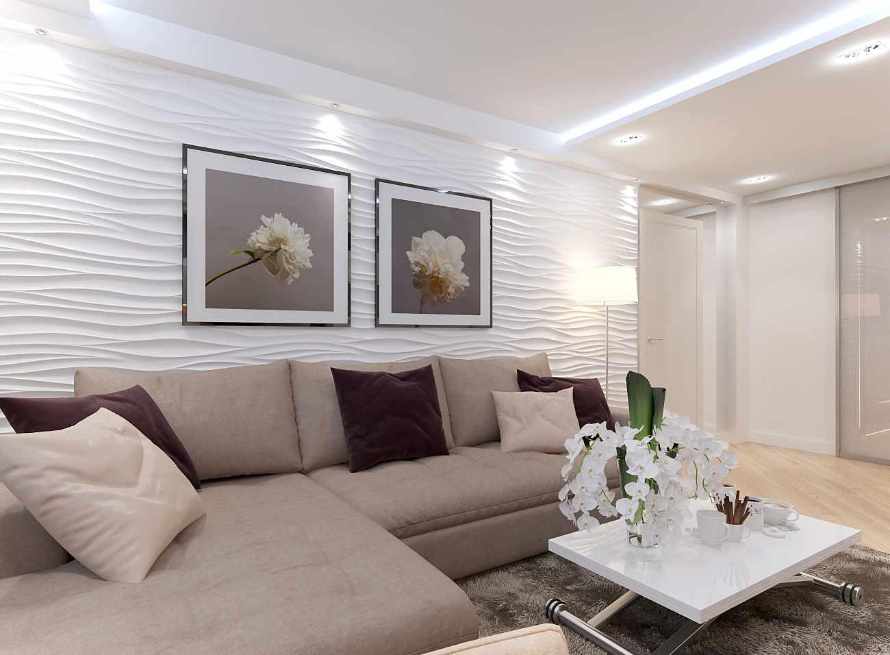 идея красивого декора гостиной комнаты 19-20 кв.м