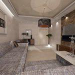идея яркого декора гостиной комнаты 17 кв.м фото