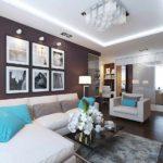 вариант красивого дизайна гостиной комнаты 19-20 кв.м картинка