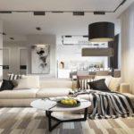 идея светлого интерьера гостиной комнаты 16 кв.м фото