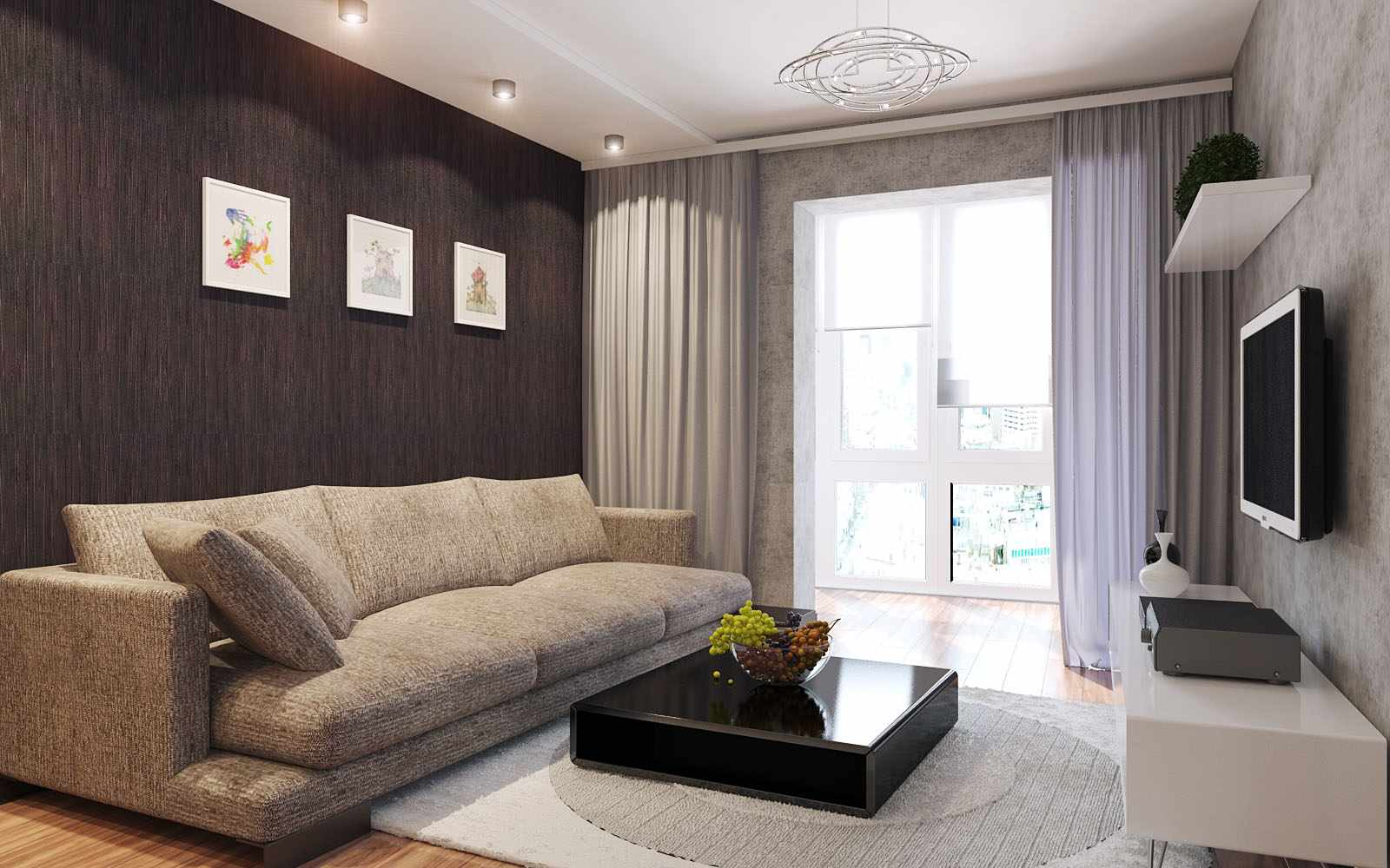 идея необычного интерьера гостиной комнаты 17 кв.м