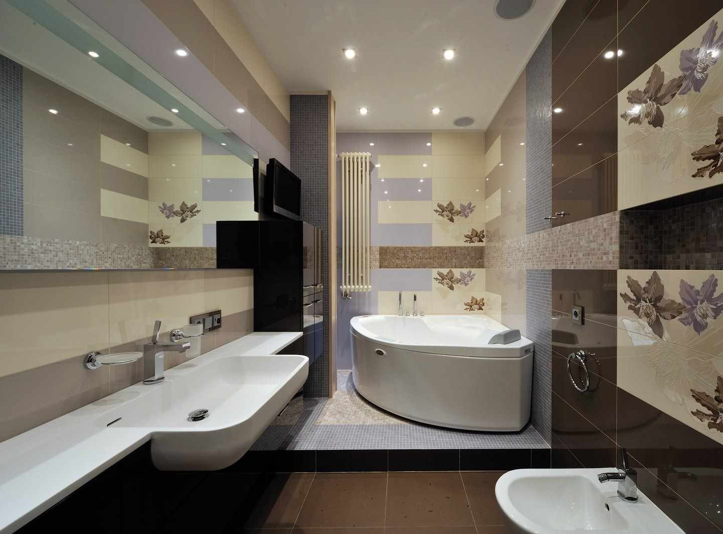 вариант необычного интерьера ванной комнаты с угловой ванной