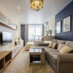вариант яркого интерьера гостиной комнаты 16 кв.м картинка