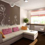 вариант яркого интерьера гостиной комнаты 19-20 кв.м фото