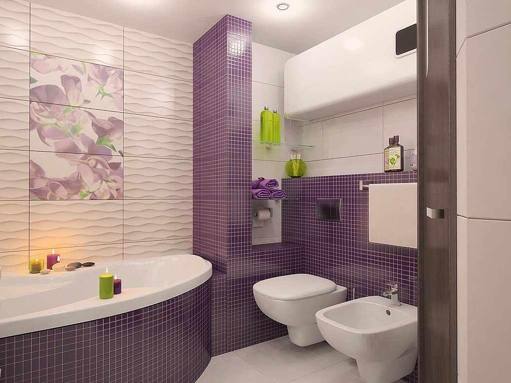 вариант необычного интерьера ванной комнаты с облицовкой плиткой