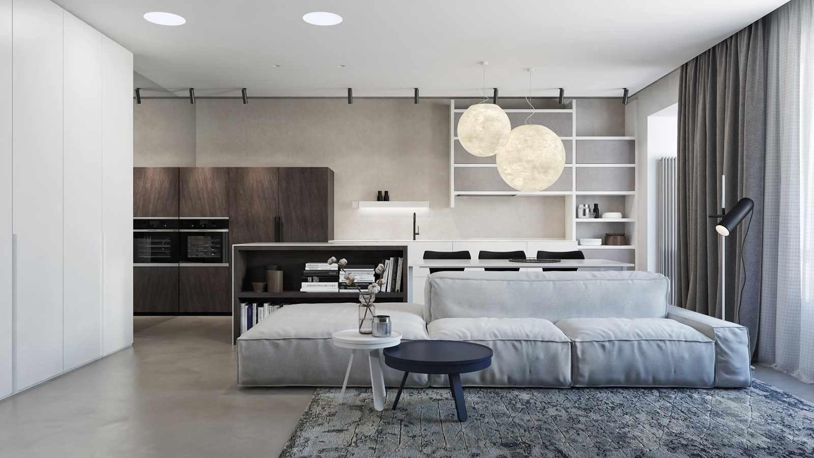 пример использования яркого декора гостиной комнаты в стиле минимализм