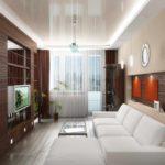 пример светлого декора гостиной комнаты 16 кв.м фото