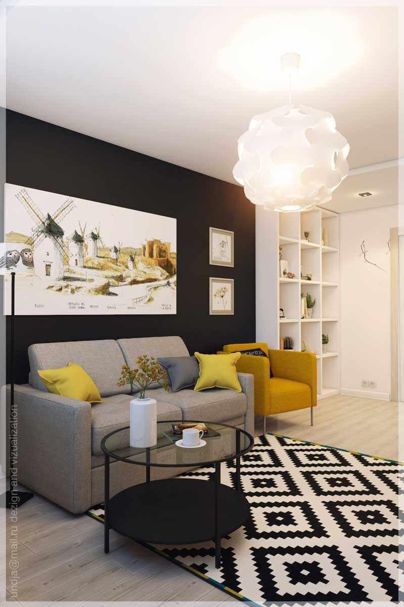пример красивого декора гостиной комнаты 16 кв.м