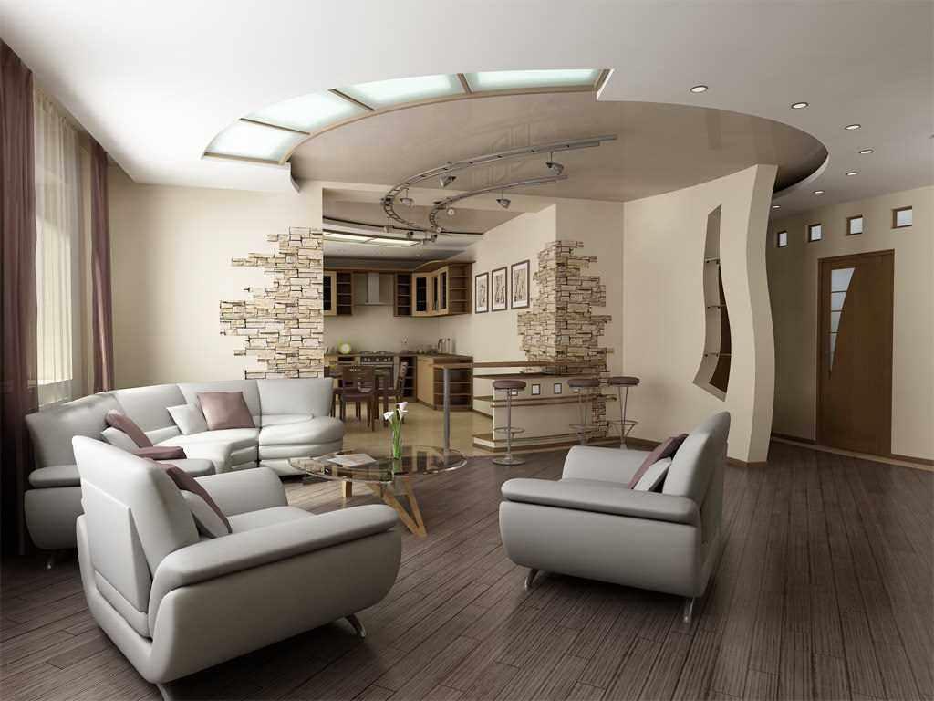 вариант яркого декора гостиной комнаты 25 кв.м