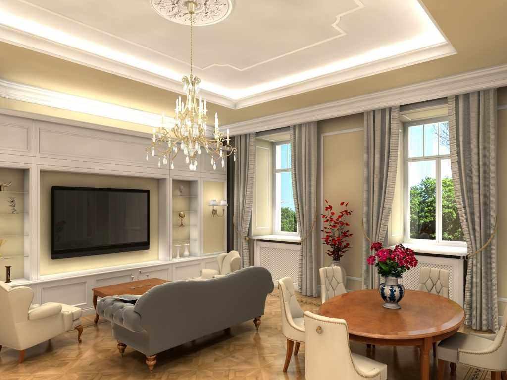 пример яркого декора гостиной комнаты 2018