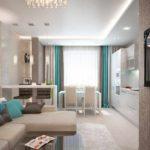 вариант яркого стиля гостиной комнаты 17 кв.м картинка
