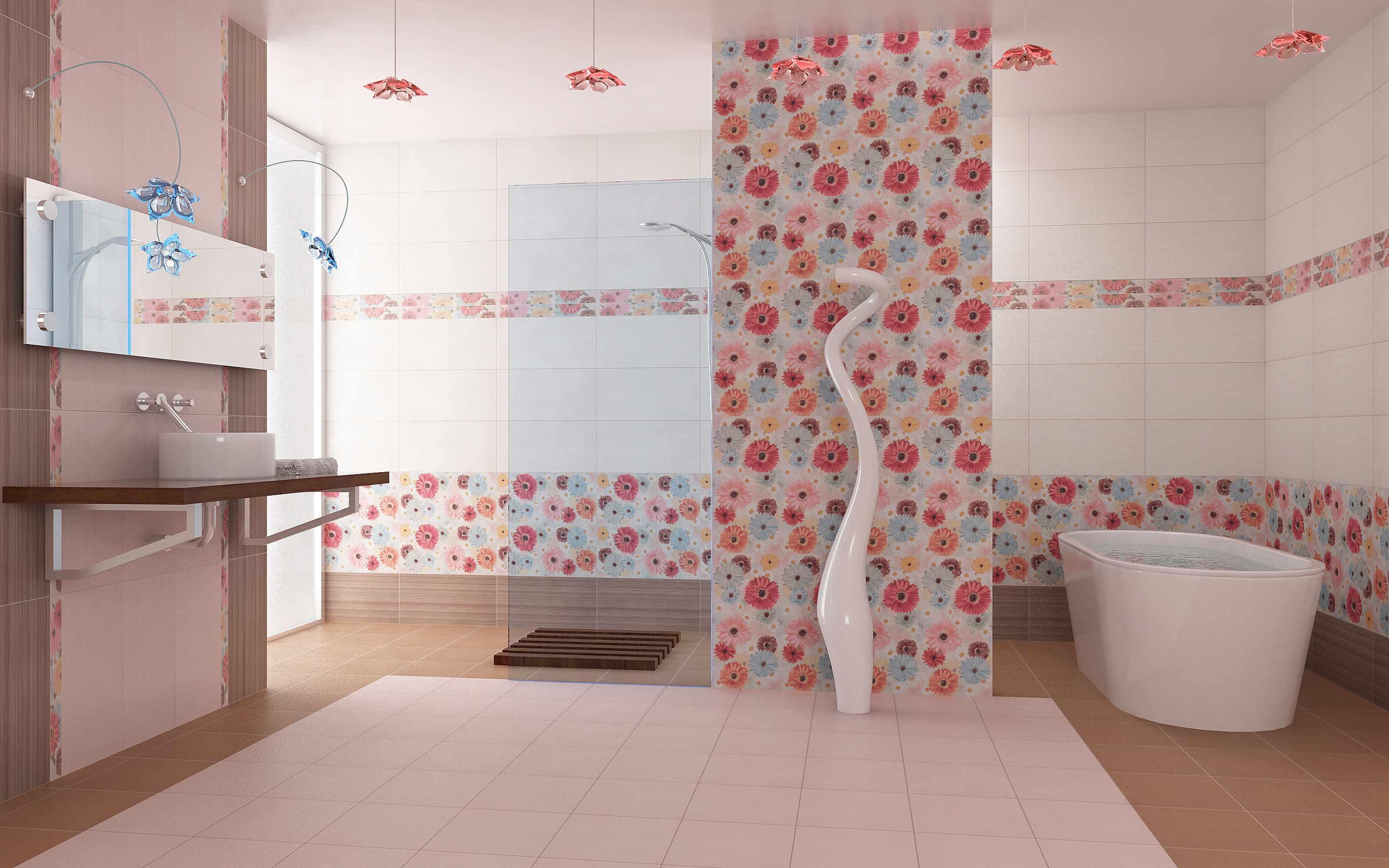 идея яркого декора ванной комнаты с облицовкой плиткой