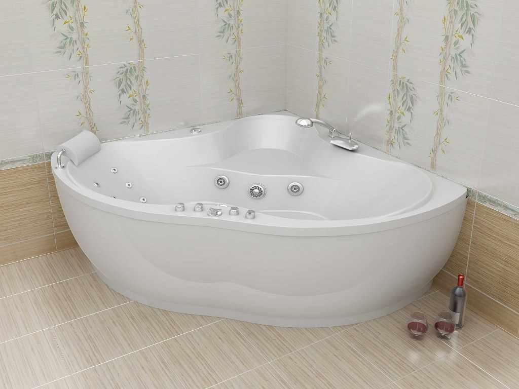 идея красивого интерьера ванной комнаты с угловой ванной