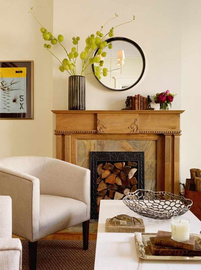 пример использования необычного интерьера гостиной комнаты с камином