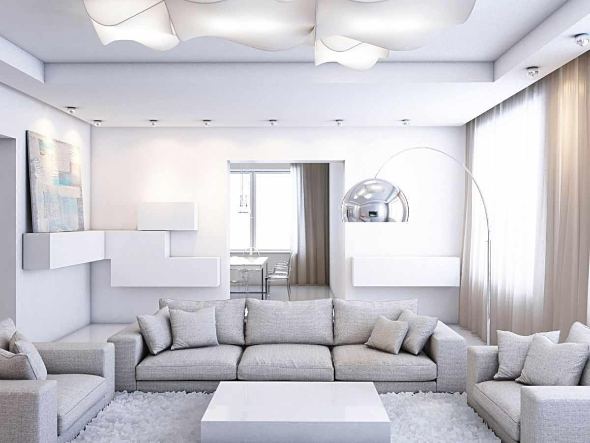вариант использования необычного дизайна гостиной комнаты в стиле минимализм