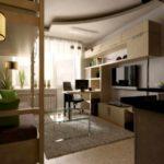 пример светлого декора гостиной комнаты 16 кв.м картинка