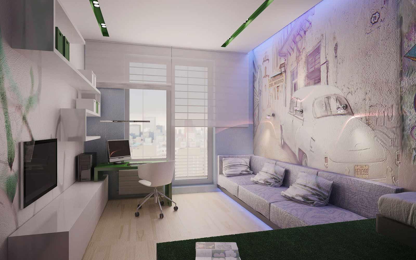 идея яркого стиля гостиной комнаты 19-20 кв.м