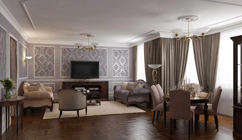 пример яркого интерьера гостиной комнаты 2018