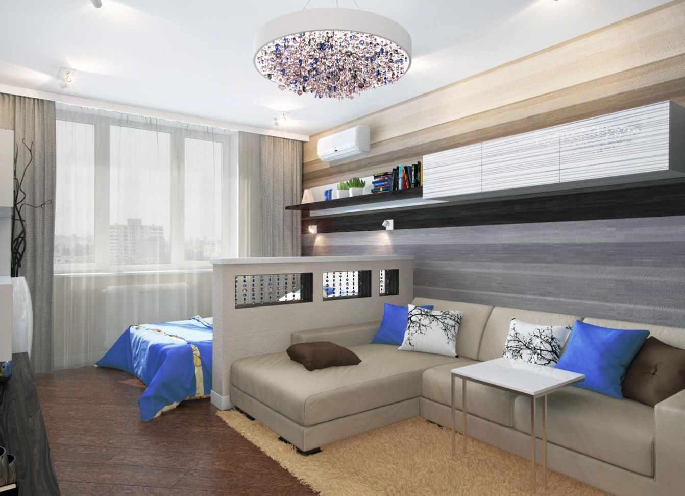 пример яркого стиля гостиной комнаты 17 кв.м