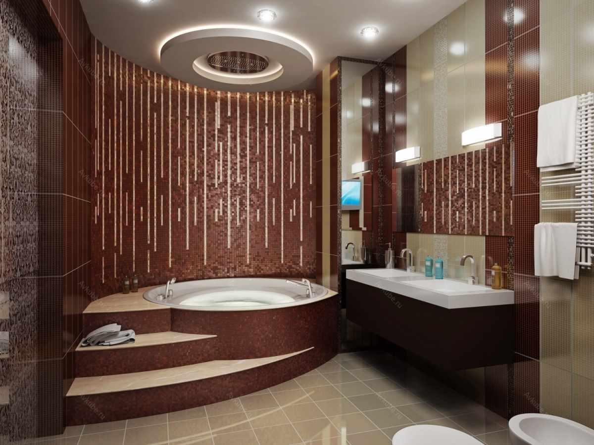 вариант яркого интерьера ванной комнаты с угловой ванной