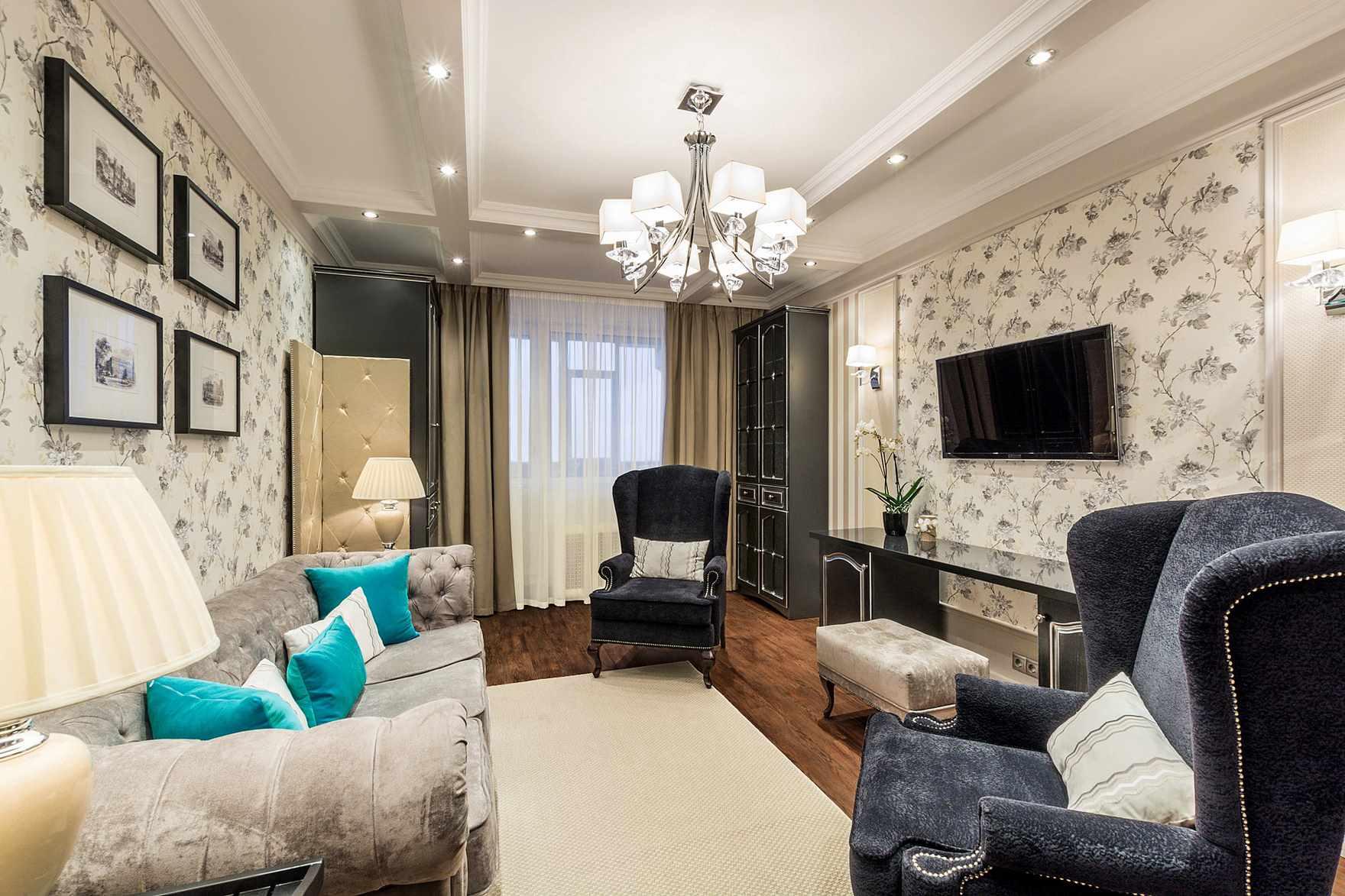 вариант красивого интерьера гостиной комнаты 16 кв.м