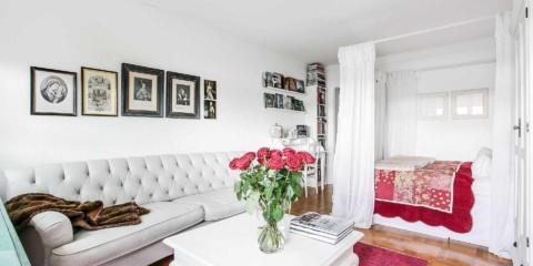 идея яркого стиля гостиной комнаты 17 кв.м картинка