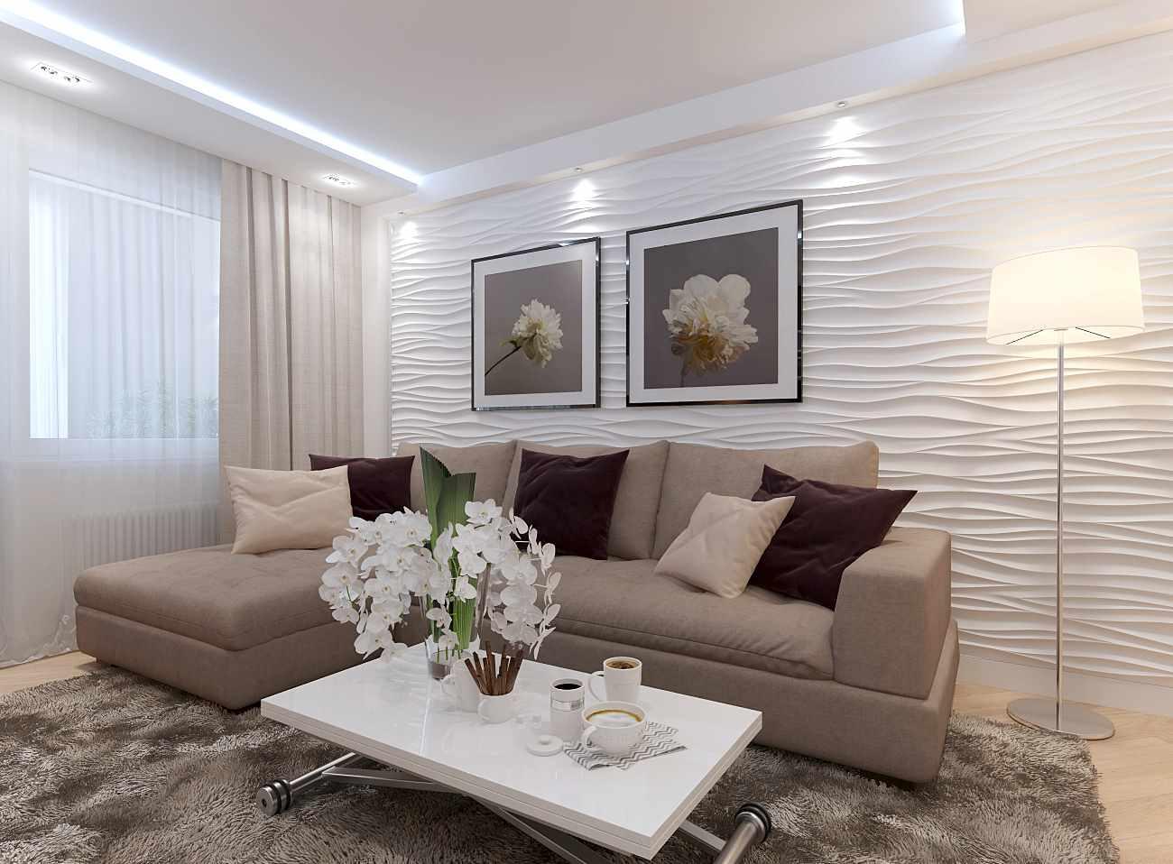идея светлого декора гостиной комнаты 19-20 кв.м